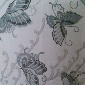 New sheer silk white and gray butterfly scarf